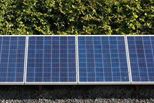 Solarpanels in a garden of a modern house.
